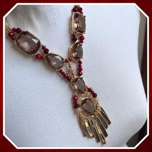 Chico's Jen Crimson & Gold Y Necklace